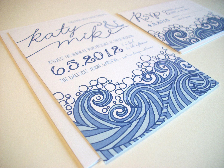 Printable Beach Wedding Invitations: Items Similar To Ocean And Beach Wedding Invitation Set