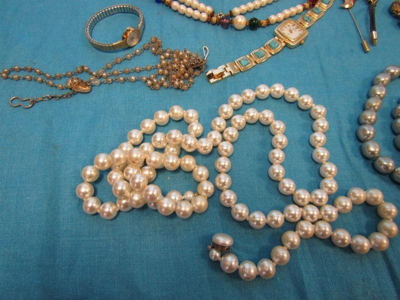 Costume jewelry watches etc. including vintage costume jewelry; religious pins and medals & Costume jewelry watches etc. including vintage costume jewelry ...