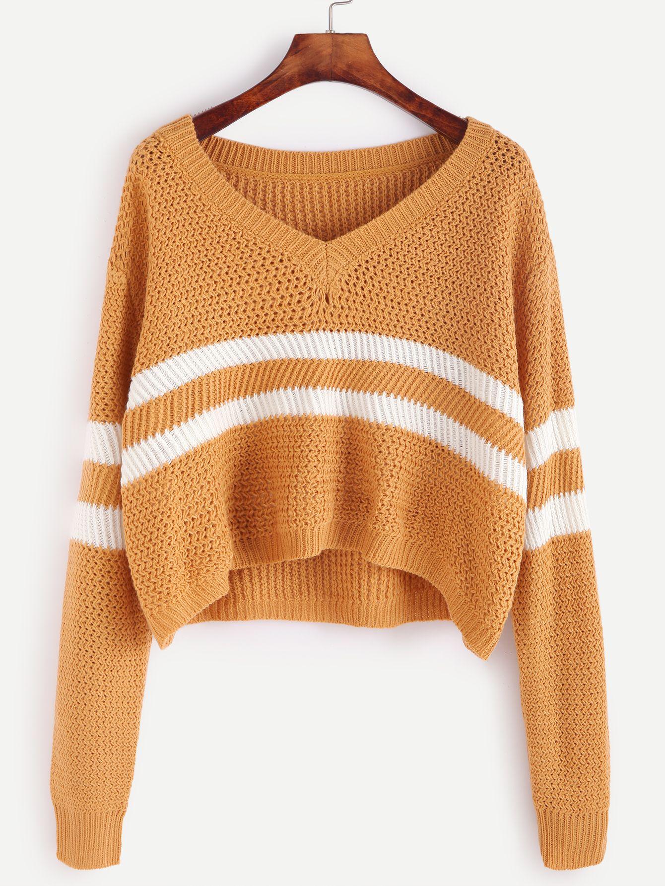 Shop Yellow Striped Chevron Knit Crop Sweater online. SheIn offers ...