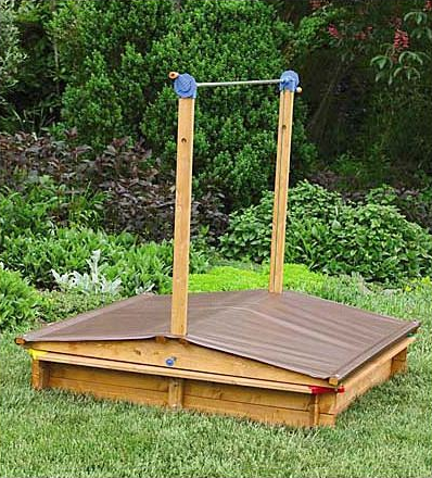 Sandbox Lid Lifts To Shade, Lowers To Protect The Sand