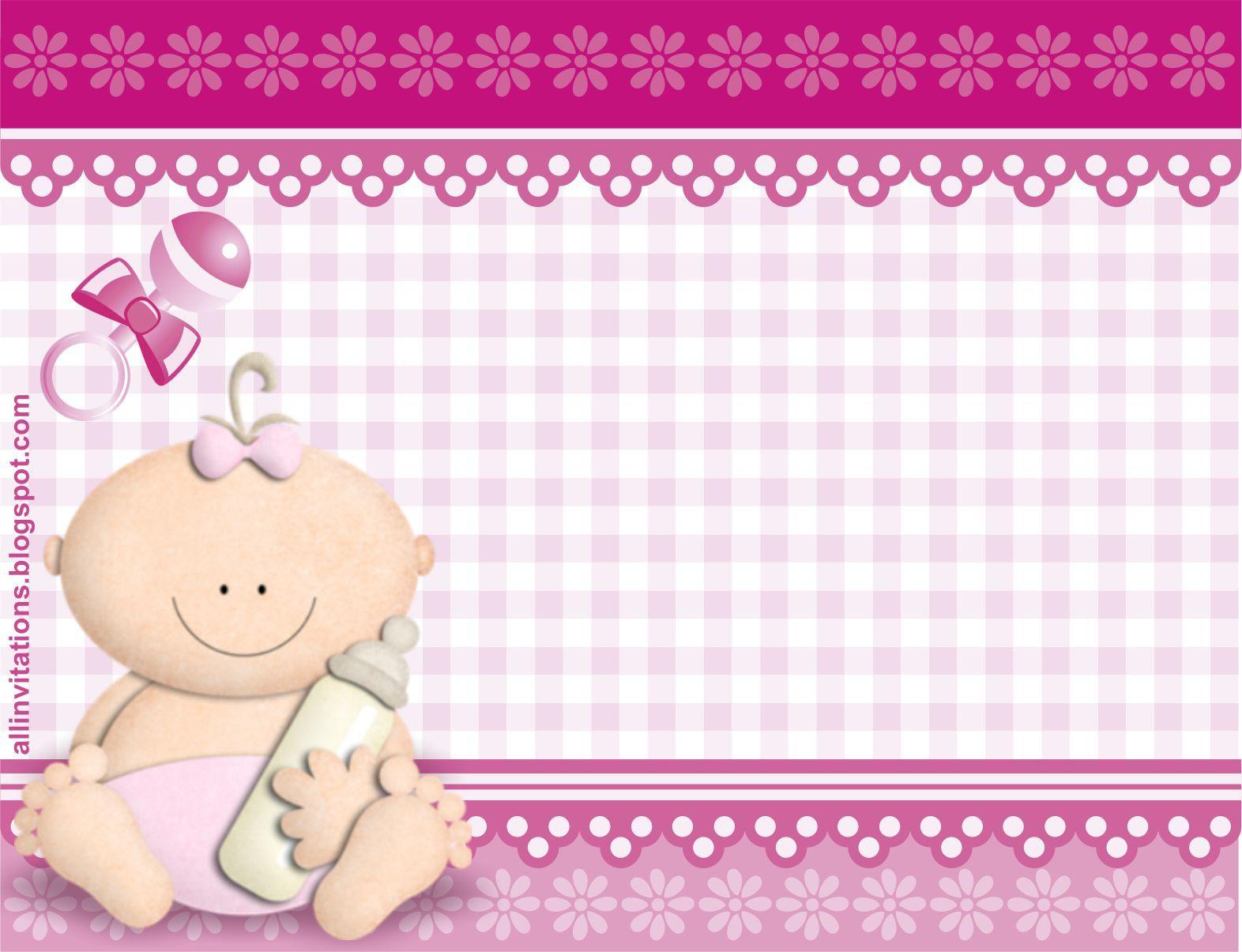 plantilla invitacion de baby shower bebe con biberon para ni a