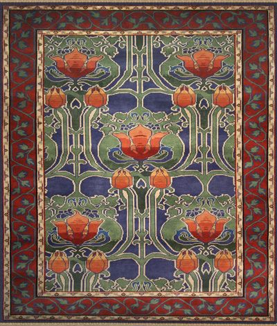 Clover Blue Red Art Nouveau Rugs Floor Rugs