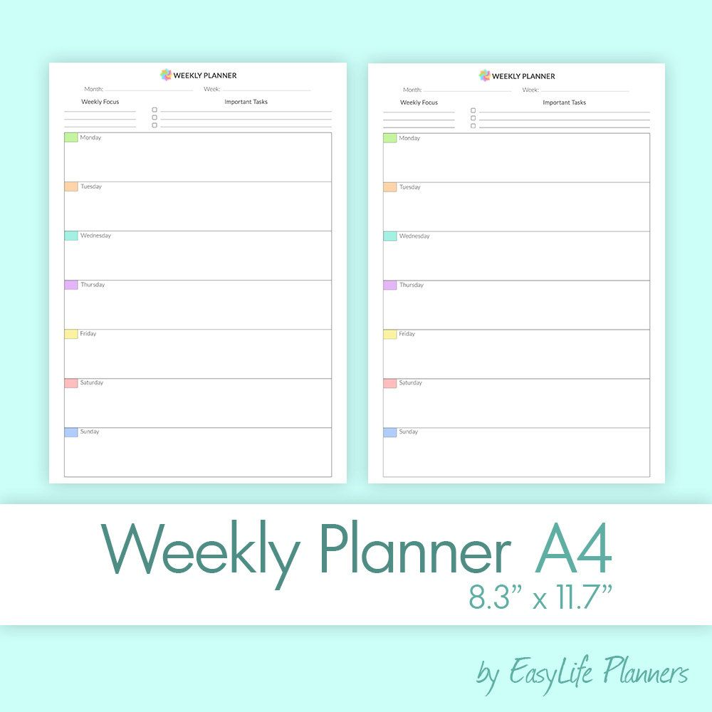 Weekly Planner X Dateless Printable Pdf A Undated