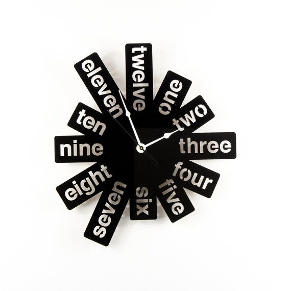 Large Wall Clock Laser Cut Acrylic Black Modern Graphic Numbers Silver Hands Unique Funky Decor Housewarming Gift Idea
