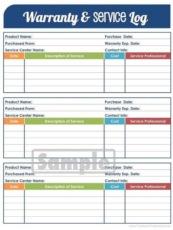 Warranty and Service Log - Printable and Editable Organizing PDF ...