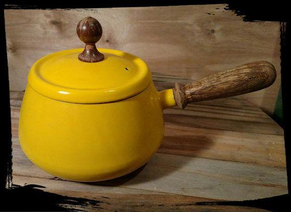 Vintage Retro Fondue Pot Wood Handle Yellow / by Flavsantiques