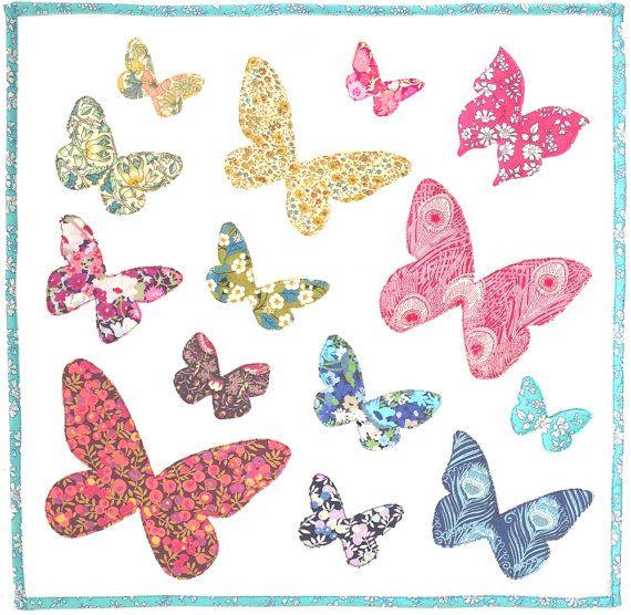 PATTERN : Butterflies Flutter Raw edge applique Quilt Block or ... : butterfly applique quilt - Adamdwight.com