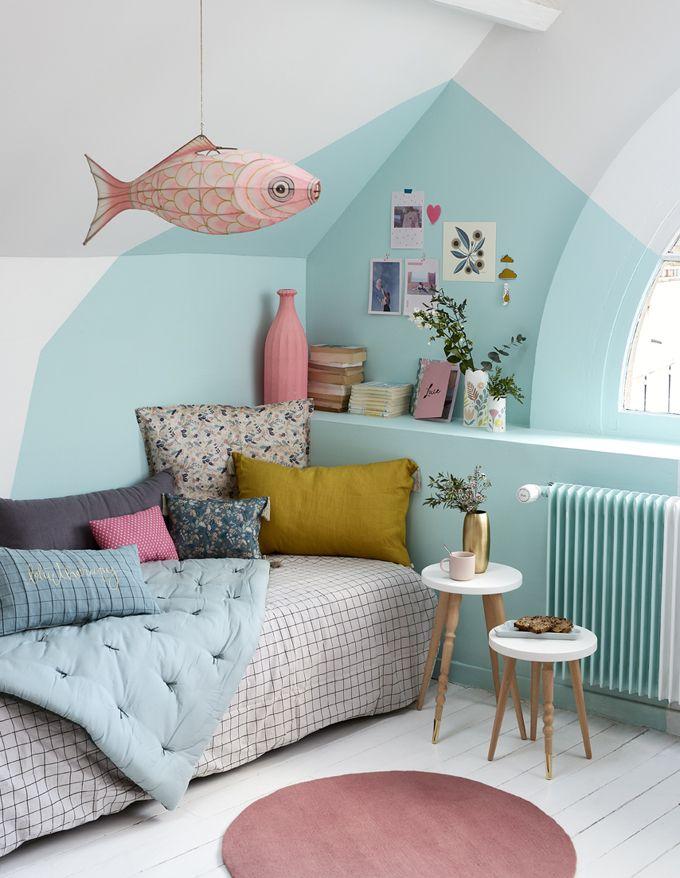 DIY déco peindre un mur pour une chambre colorée Kids rooms