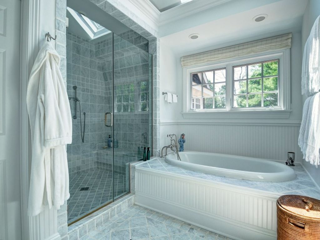 Cute tiled bathroom with a skylight in the shower | Bathrooms ...