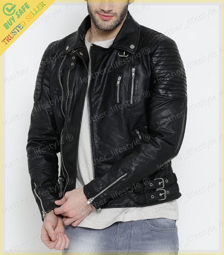 Men/'s Leather Jacket Black Slim fit Motorcycle Real Biker Lambskin Stylish  D02