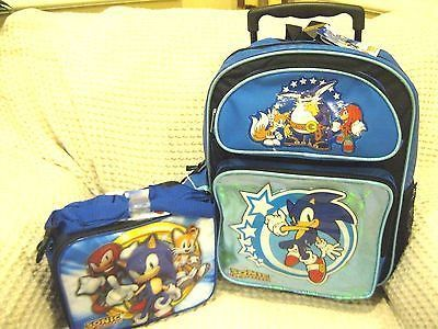 Blue Sonic The Hedgehog Rolling Backpack And Sonic Knuckles Tail Lunchbox Set Sonic Sonic El Erizo Tmnt