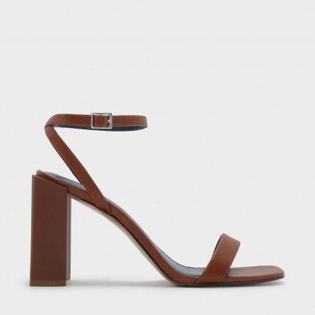 f1c7a808501 Cognac Open-Toe Heel Sandals