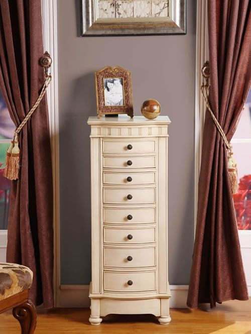 Hayden Antique White Jewelry Armoire Available At