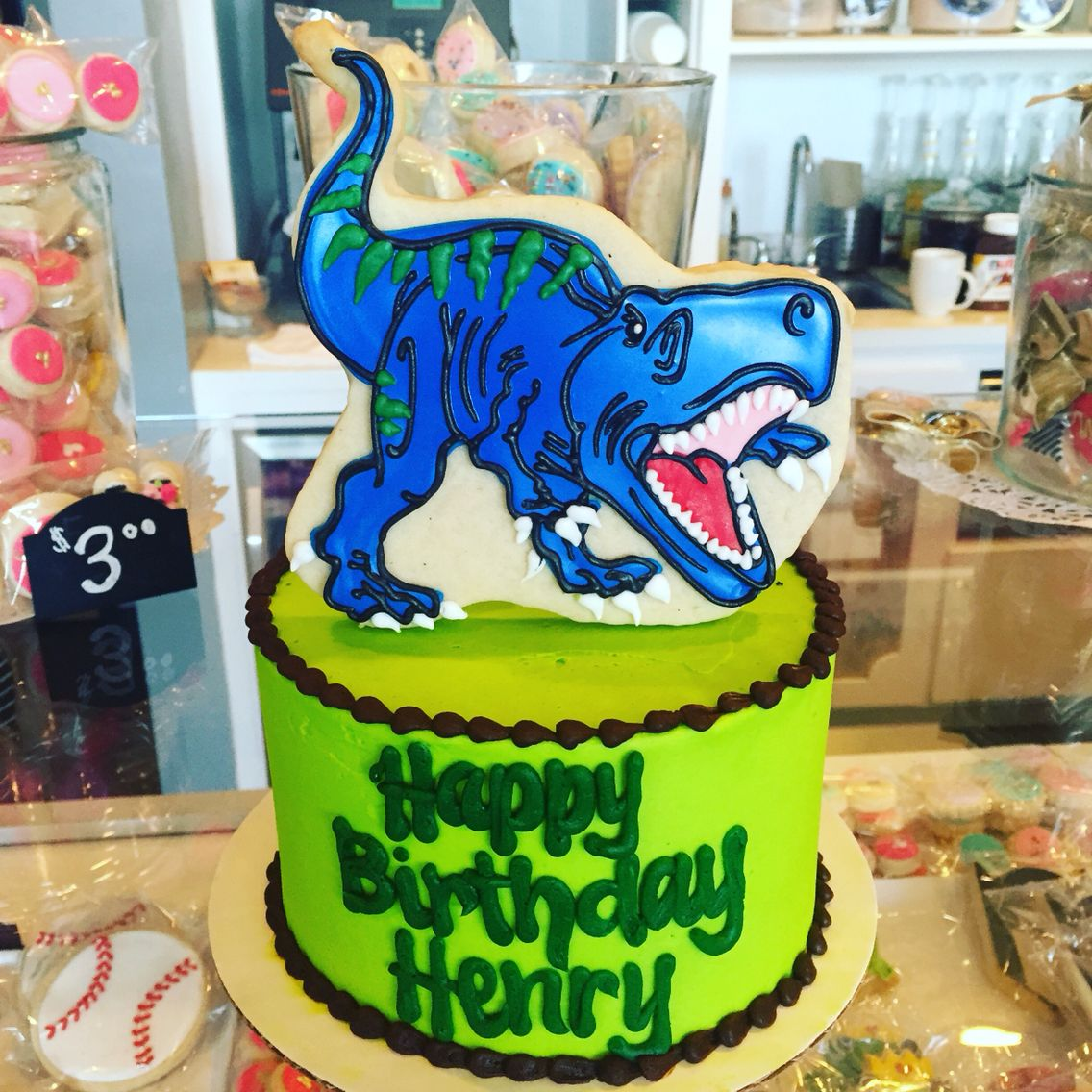Roaring Dinosaur T Rex Birthday Cake By Hayleycakes And Cookies In Austin Texas