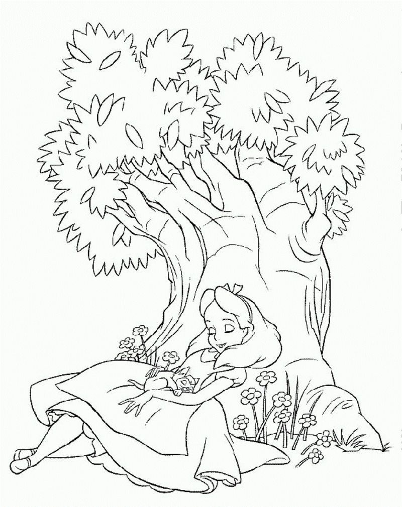 Alice Sleeping In Wonderland Coloring Pages