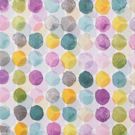 Tissu Coton Fantaisie Amp Nbsp Parseme De Rond Colore Comme Une
