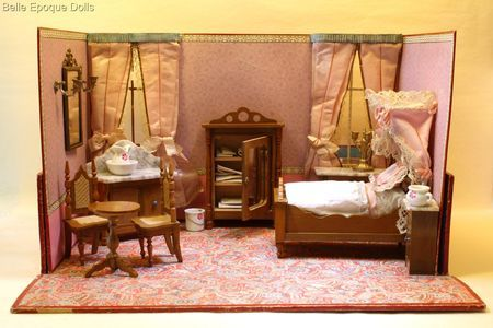 puppenstuben zubehor , miniature antique dollhouse  , Antique french boxed bedroom