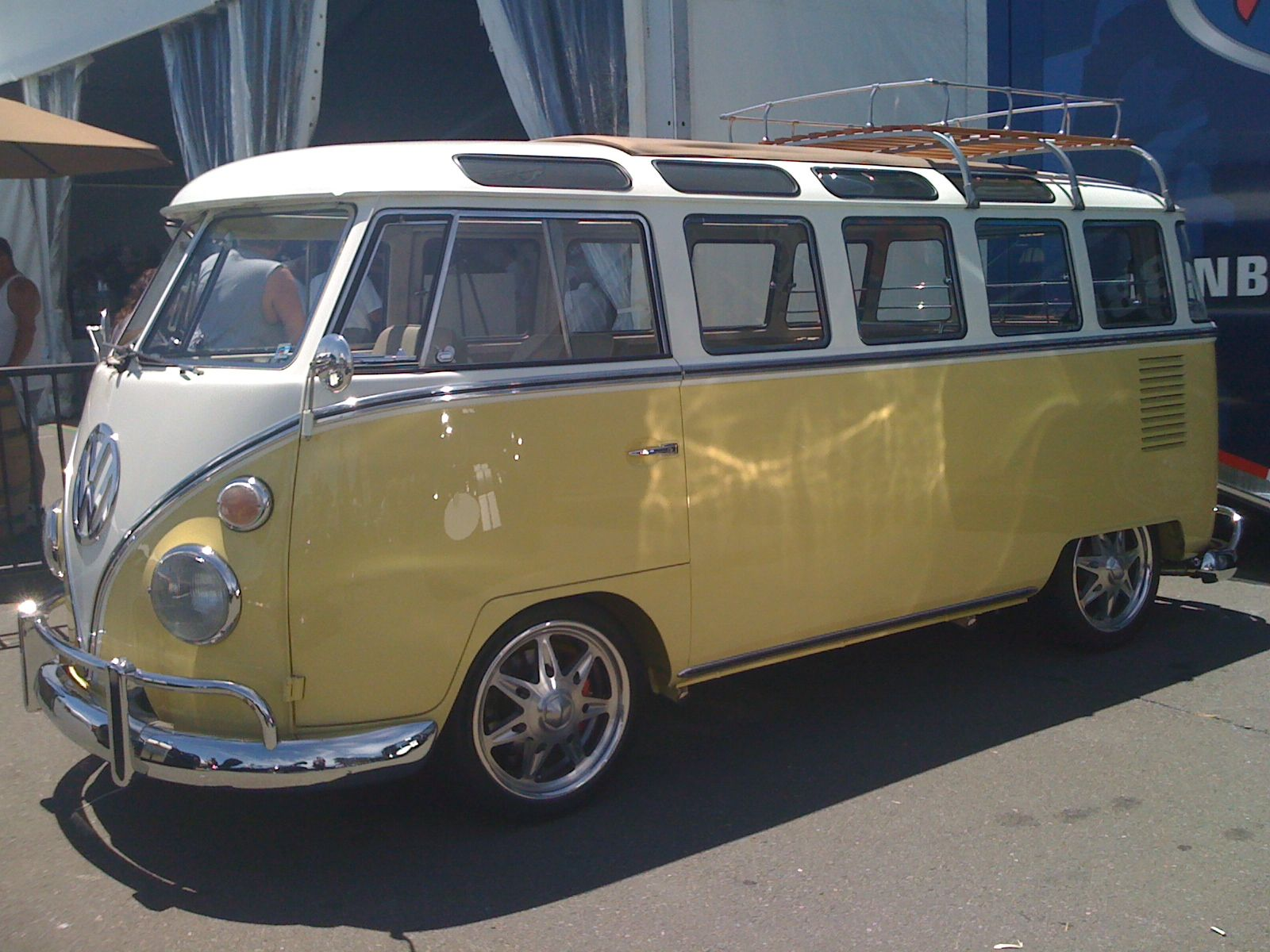 White yellow vw bus 23 window 2nd