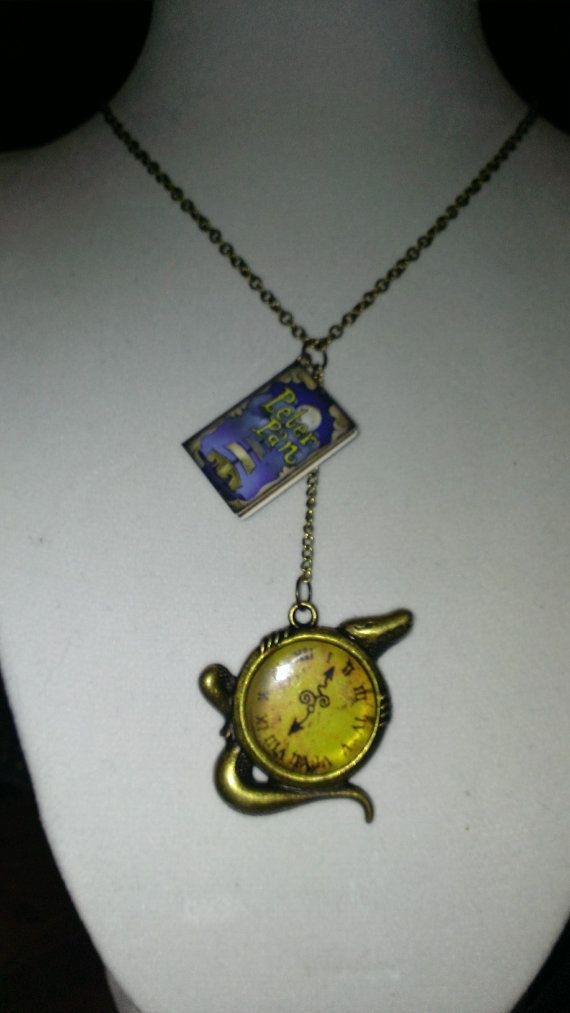 Peter Pan and Tick Tock Croc Miniature Book Charm Necklace Disney Jewelry Peter Pan Captain Hook
