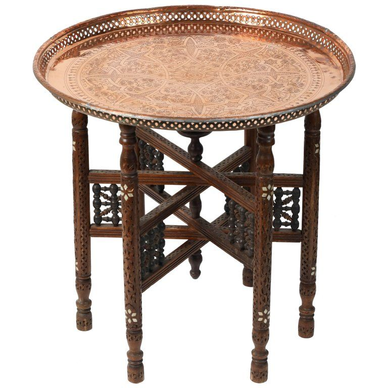 Moroccan Copper Tray Table With Folding Base Copper Tray