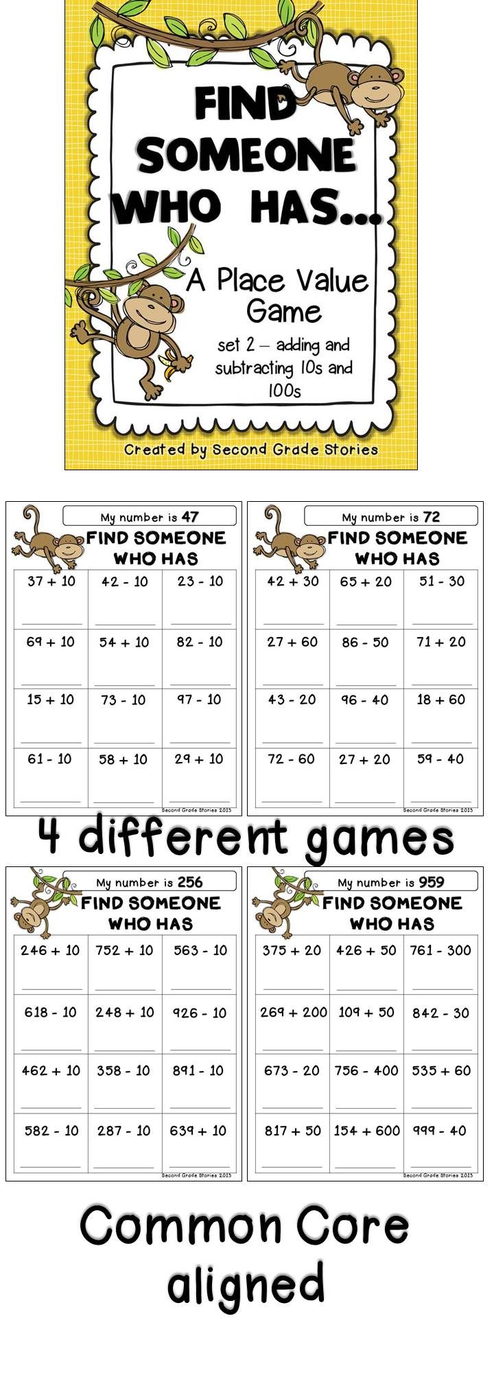Place Value Math Games Set 2 Adding And Subtracting Multiples Of