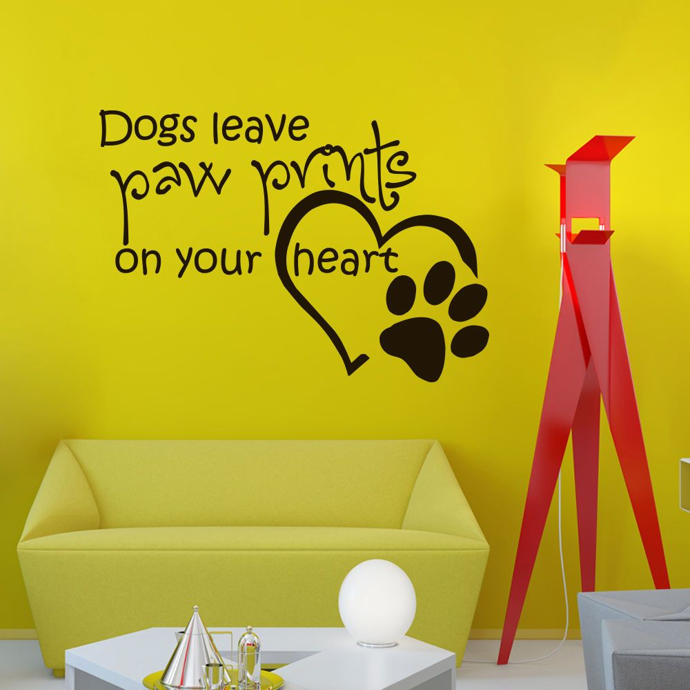 Wall Vinyl Decals Quote About Dogs Leave Paw Print Decal Home ...