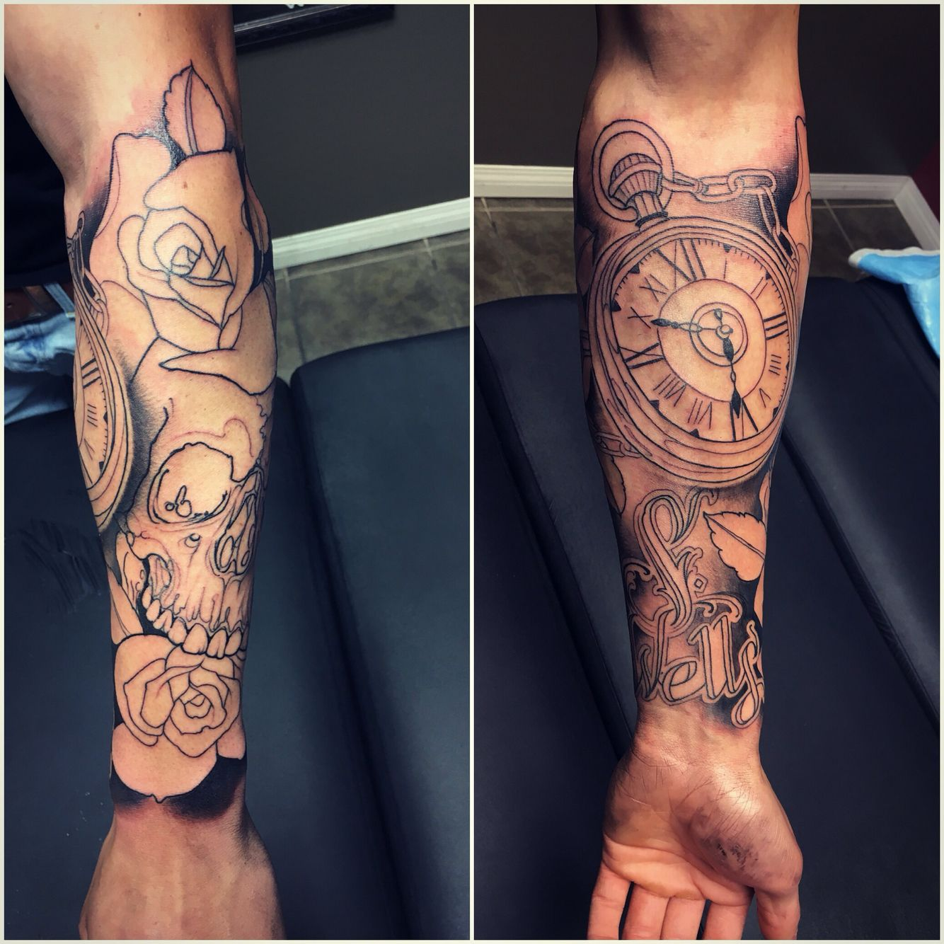 Watch Sleeve Tattoo: Beautiful Pocket Watch With A Skull And Roses