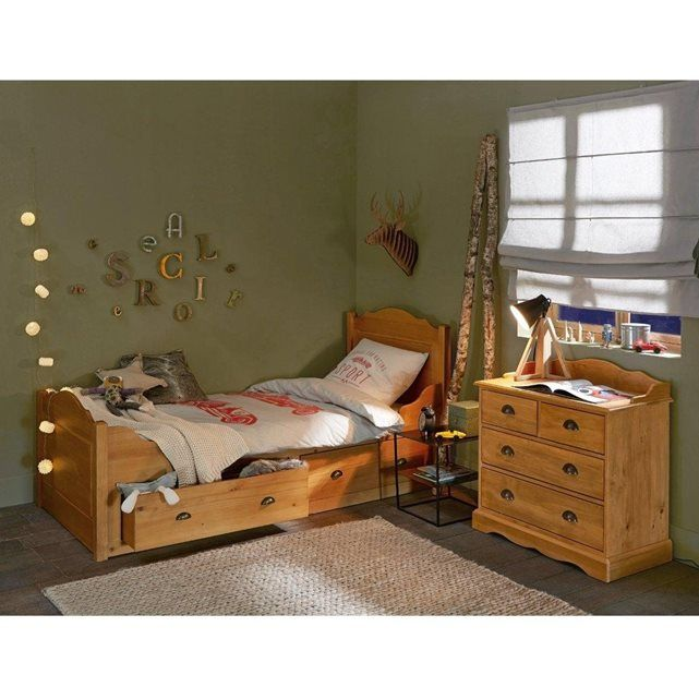 lit bateau 2 tiroirs authentic style pin massif tiroir et massif. Black Bedroom Furniture Sets. Home Design Ideas