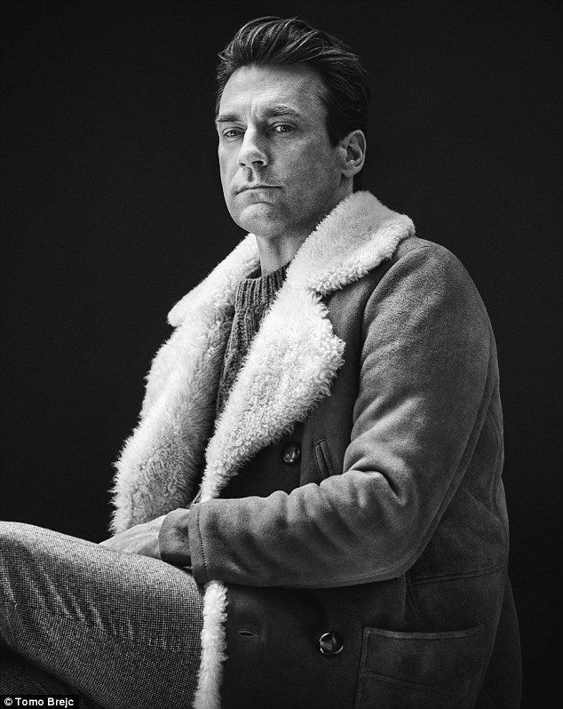 Strike a pose: The actor poses in stylish tweed trousers a sheepskin jacket from Mr Porter