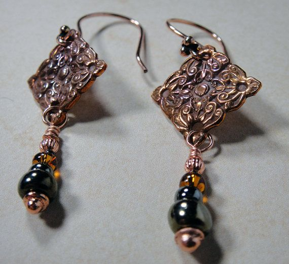 Copper Flower and Scroll PMC and Czech Glass by PattiVanderbloemen, $32.00