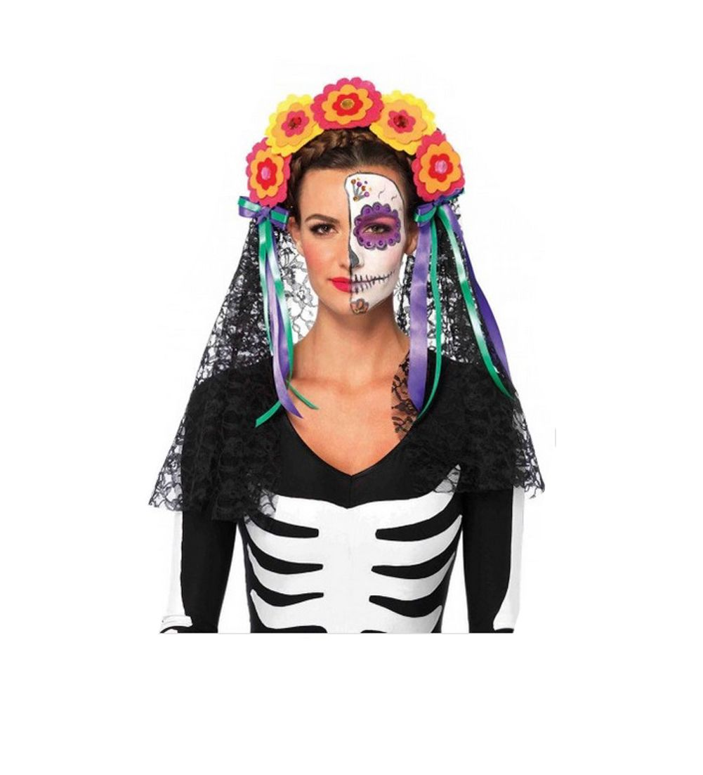 Costume Halloween 911.Day Of The Dead Flowered Headband Lace Veil 2726 Day Of The Dead