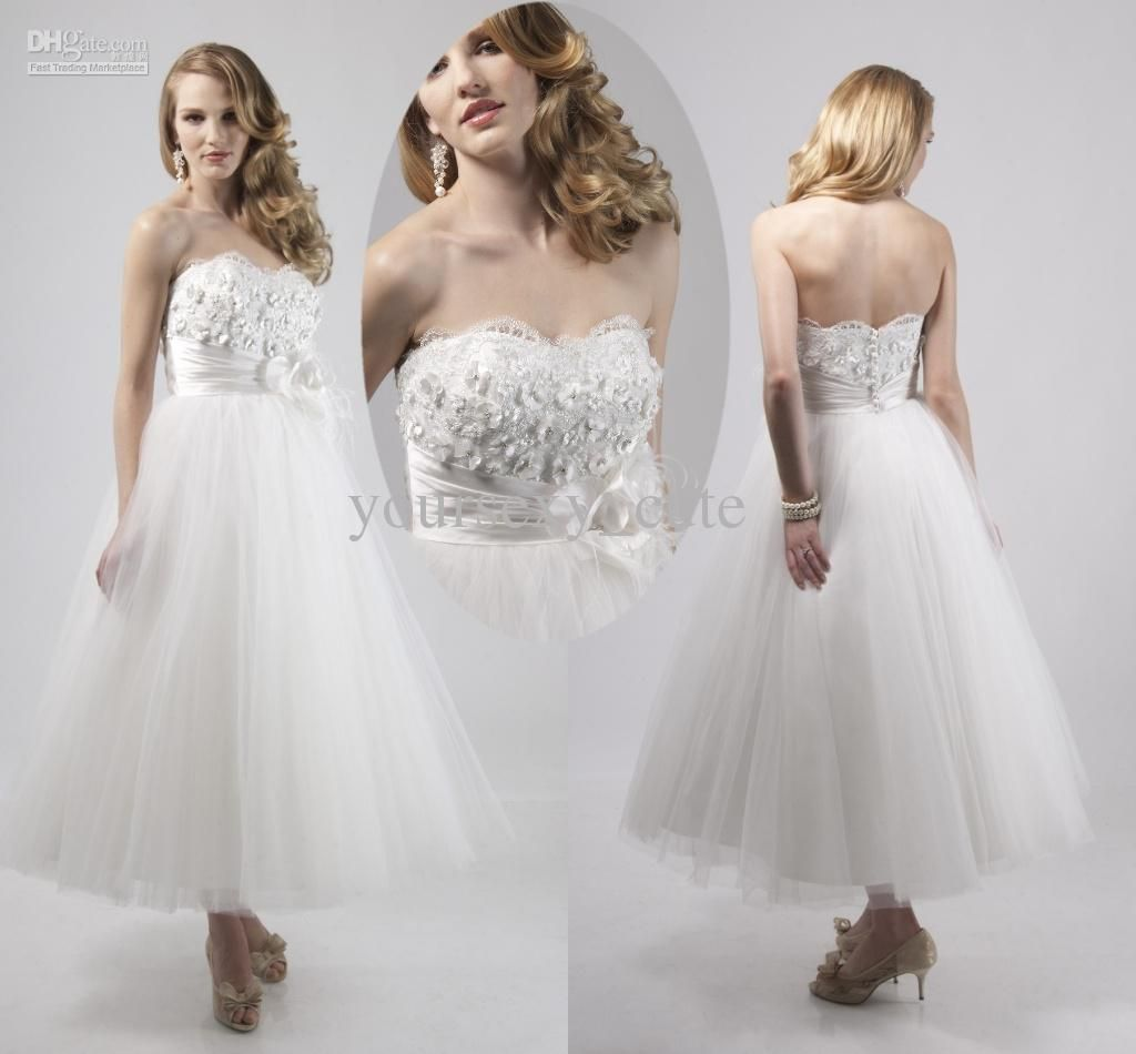 Wholesale New Style Short Wedding Dresses Sweetheart Ball Gown Ankle Length Applique Hand Made Wedding Gowns, Free shipping, $165.0/Piece   DHgate