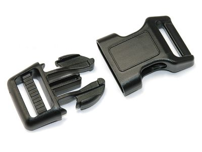 PS22 Tension Curved Adjustable Side Release Buckle. 1 Inch (25 mm) Size Only Breaking Strength 300 lbs. One Side Adjustable.