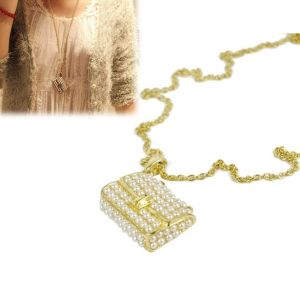 $2.00 Europe Retro Pearl Hollow Out Handbag Necklace Sweater Chain