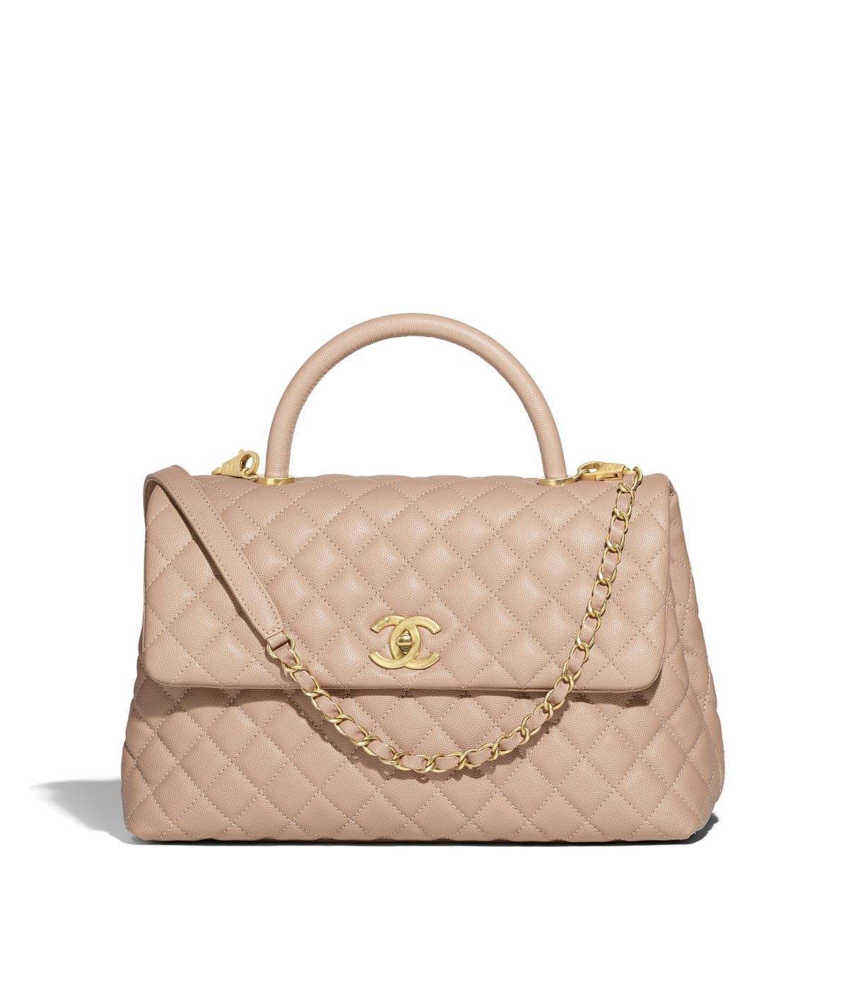 7047c9ca0d13 Handbags of the Spring-Summer 2018 CHANEL Fashion collection : Large Flap  Bag With Top Handle, calfskin & gold metal, beige on the CHANEL official  website.