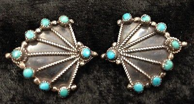 Vintage-Sterling-Silver-Turquoise-ZUNI-Petit-Point-Clip-On-Earrings