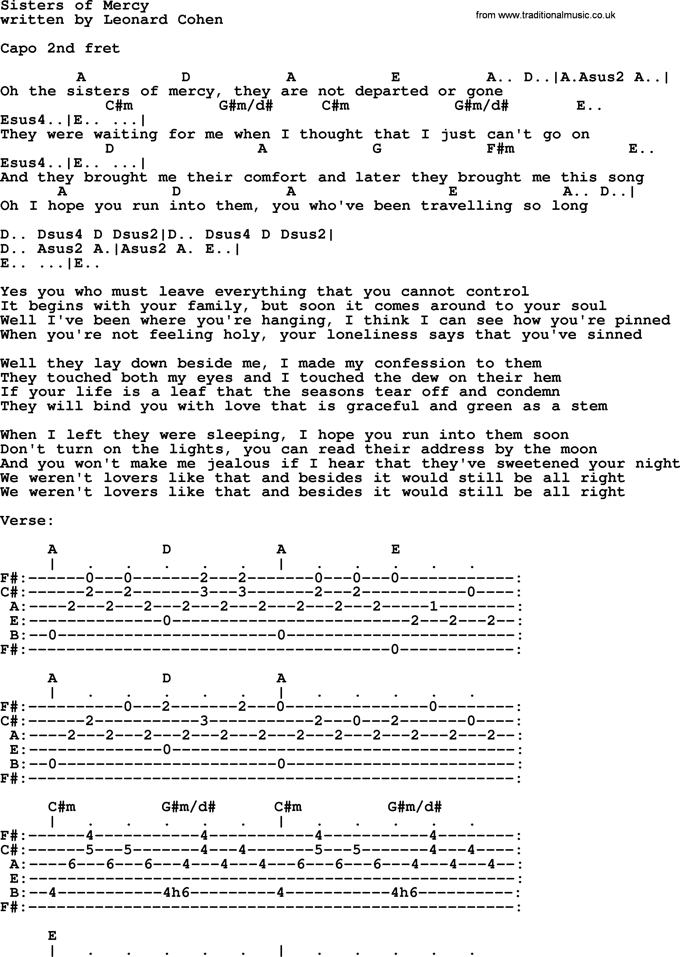 Leonard Cohen Song Sisters Of Mercy Lyrics And Chords Guitar