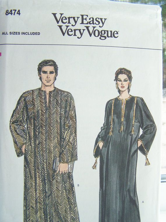 Vogue 8474 Sewing Pattern Unisex Caftan Long by WitsEndDesign ...