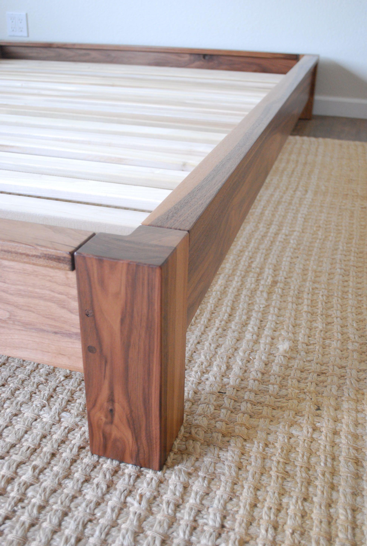 Low Profile Platform Bed In Black Walnut Twin Full Queen King California King Hardwood Bed Frame Platform Bed Bed Frame Simple Bed