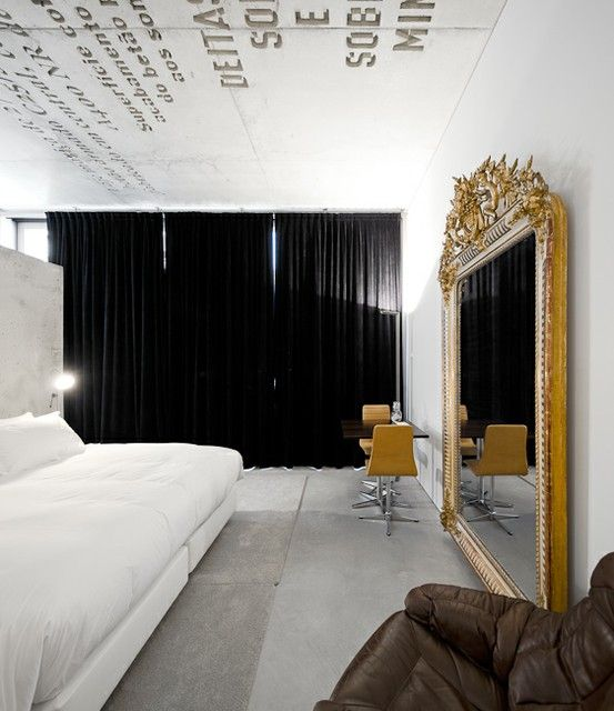 Love The Idea Of Floor To Ceiling Black Curtains In An All White Room