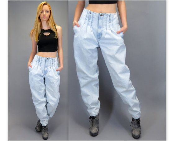 Vintage 80s 90s High Waisted Pleated Front Blue Jeans Light Wash ...
