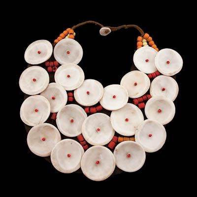 Shell And Bead Necklace On Leather  |   North Eastern States, India | Circa Mid 20th Century.  From the untamed forests and jungles of North East India come a mesmerising wealth of bold works of jewellers art that exemplify the strength of the chic and proud tribal warriors who inhabit these border states.