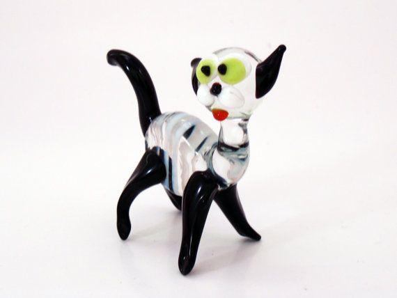 Glass Cat Miniature Clear Glass Cat Figurine Fused by flameingo
