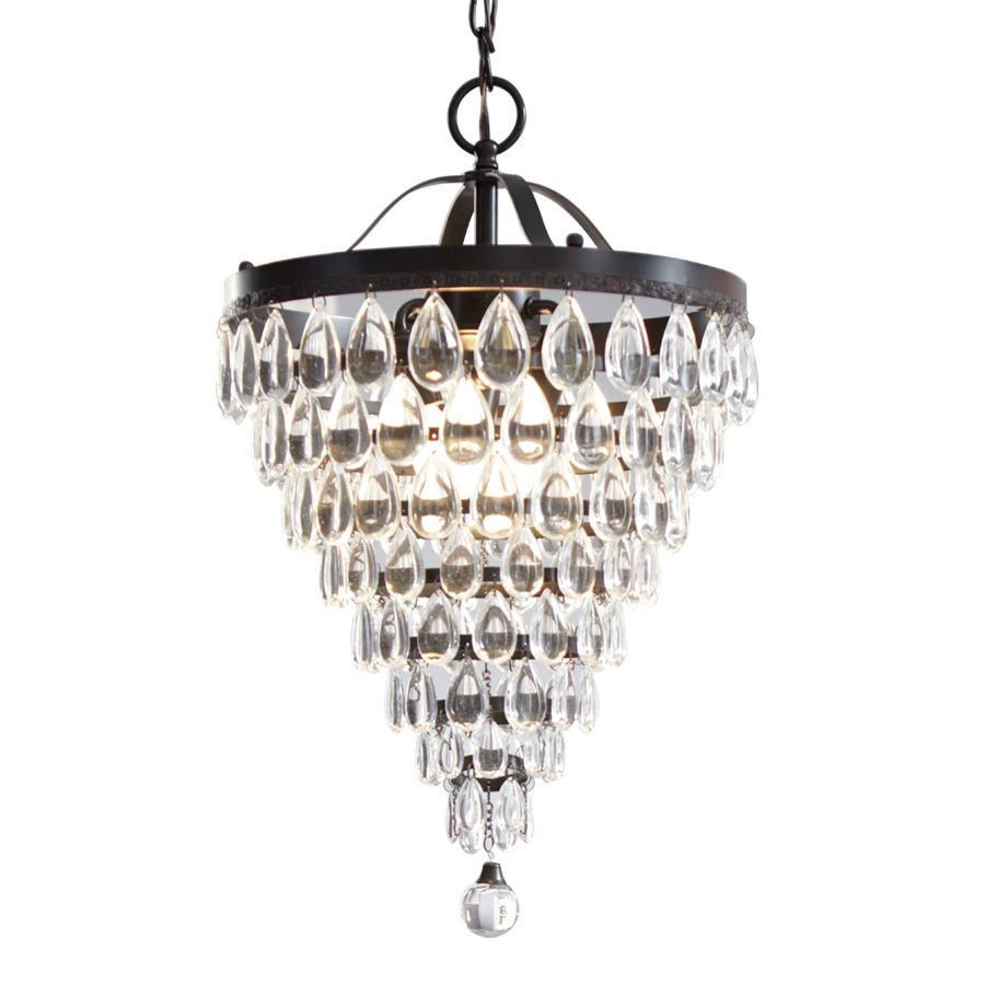 Style Selections 3 Light Antique Bronze Crystal Chandelier For Dining Room