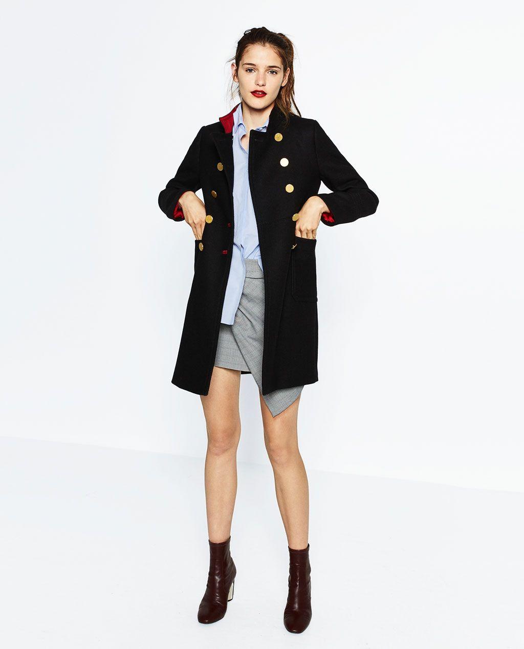 Soldes À Manteaux Femme Deux Zara Manteau De Boutons Rangées YwvXdBq