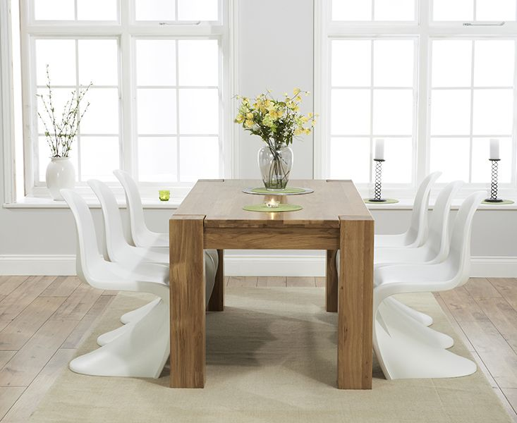 Thames 150cm Solid Oak Dining Table With Verner Panton Style S Chairs