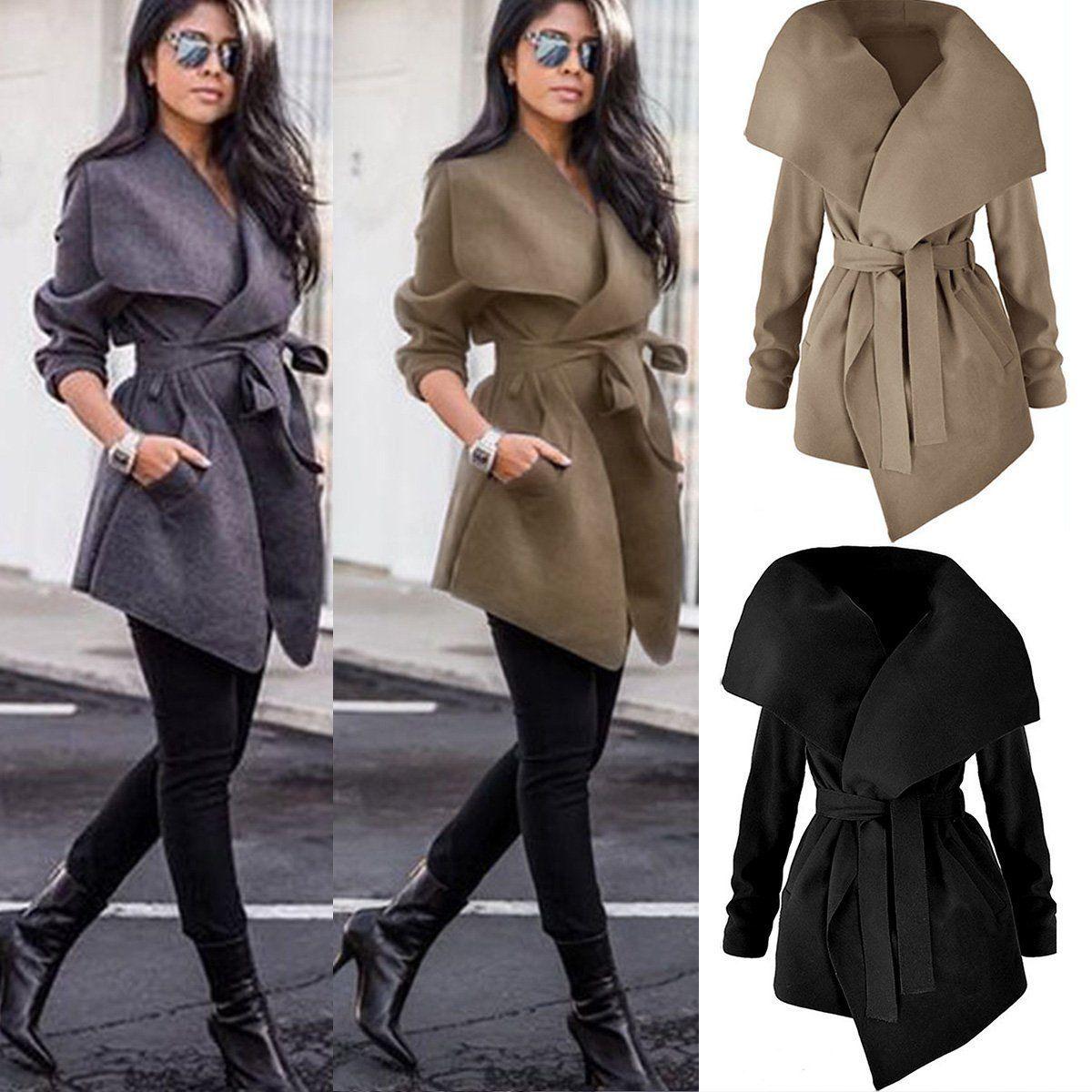 04adaaca95f0 Fashion Women Ladies Winter Trench Coat Warm Parka Overcoat Long Jacket  Outwear