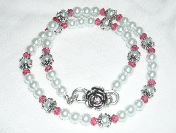 Glass Pearl Swarovski Crystal Necklace Rose Valentine Pink White Romantic Versatile Victorian Antique Style Wedding Pearl Fashion Necklace