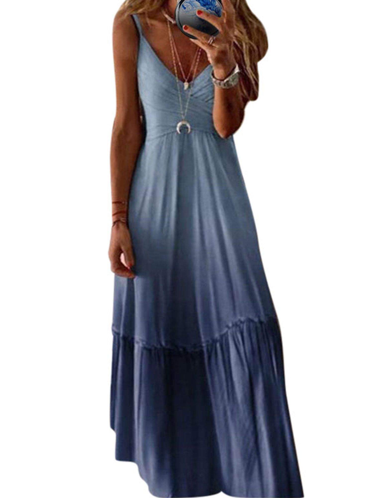 Picked Up From Walmart Free 2 Day Shipping On Qualified Orders Over 35 Buy Ladies Spaghetti Strap Maxi Dre Maxi Dresses Casual Boho Dresses Long Maxi Dress [ 2000 x 1500 Pixel ]