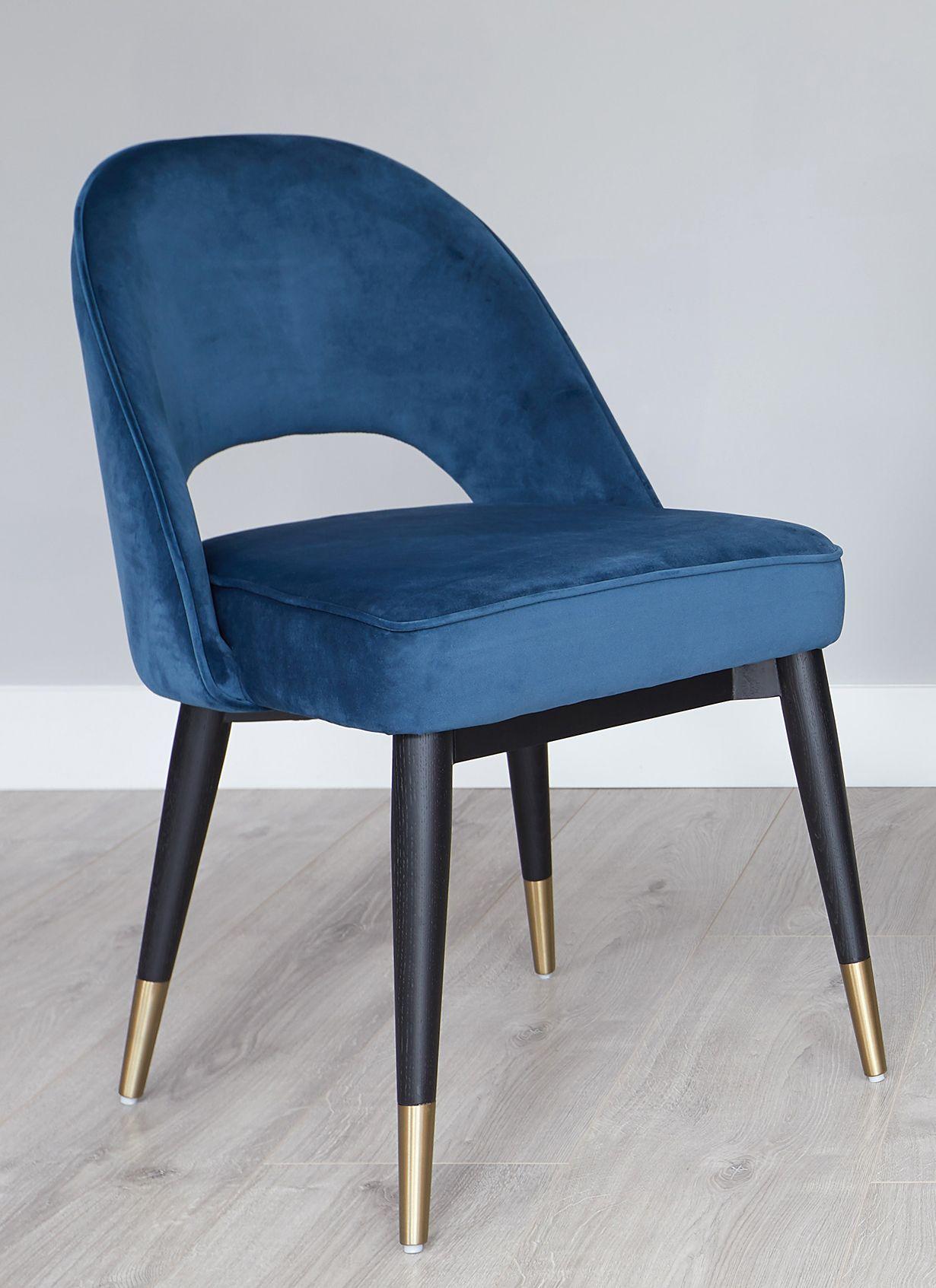 Clover Sapphire Blue Velvet Dining Chair Blue Velvet Dining